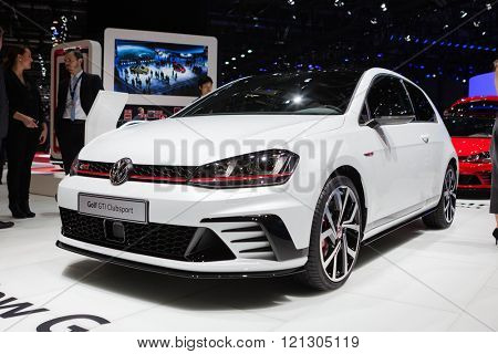 GENEVA, SWITZERLAND - MARCH 1: Geneva Motor Show on March 1, 2016 in Geneva, Volkswagen Golf GTI Clubsport, side-front view