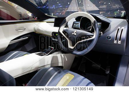 GENEVA, SWITZERLAND - MARCH 1: Geneva Motor Show on March 1, 2016 in Geneva, Mitsubishi eX SUV concept, interior view