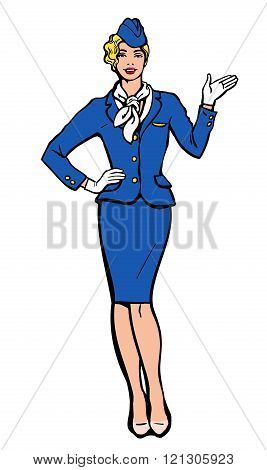 Stewardess in blue suit indicates information
