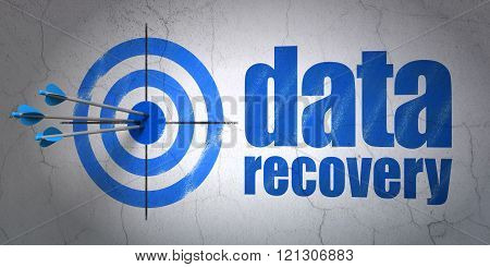 Data concept: target and Data Recovery on wall background