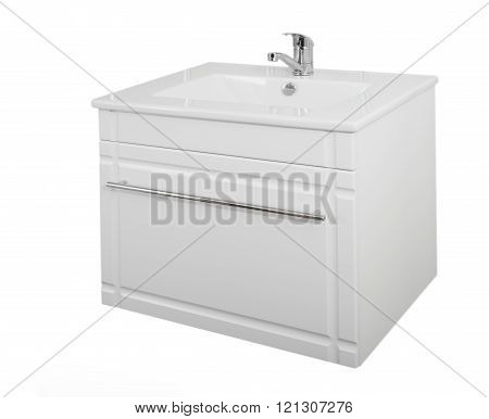 White cabinet with washbasin. Made of wood particle board laminated. sink for washing hands