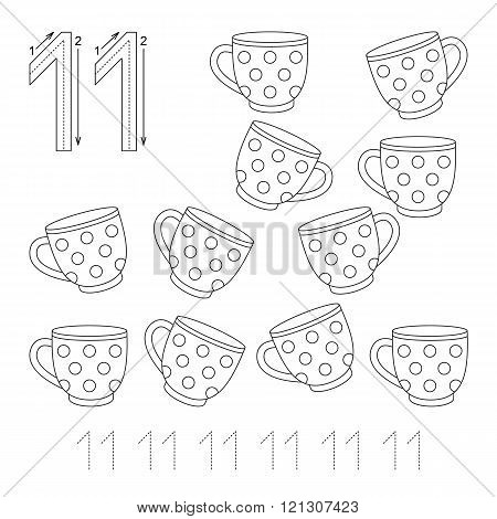 Illustrated worksheet. Learn handwriting. Page to be colored. Tracing worksheet for figure Eleven