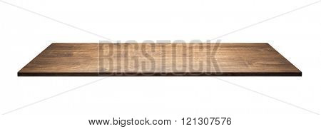 Wooden table top or shelf isolated on white background.