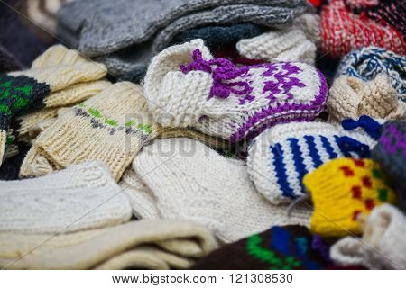 Woollen sox in the famous handicraft mart Kaziukas inVilnius, Lithuania