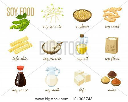 Set Of Cartoon Soy Food - Milk, Sauce, Meat, Tofu, Miso And So. Vector Illustration, Isolated On Whi