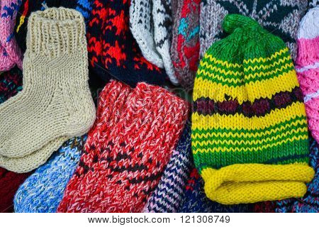 Traditional woollen sox in the famous handicraft mart Kaziukas in Vilnius, Lithuania poster