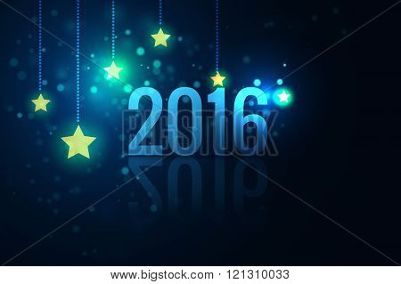 2016 on glittering stars background vector illustration