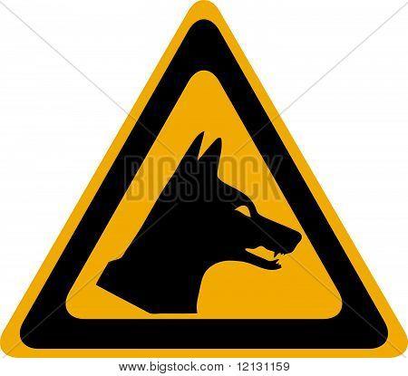 Dingo danger, vector warning sign with black frame poster