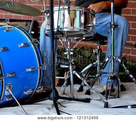 Jazz drummer performing.