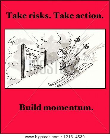 Business cartoon about taking risks and taking action.