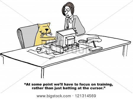 Business cartoon about a manager cat that is resisting training.