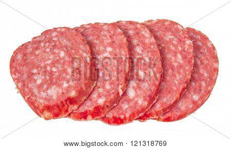Smoked salami sausage. Sliced smoked sausage salami isolated on white background.