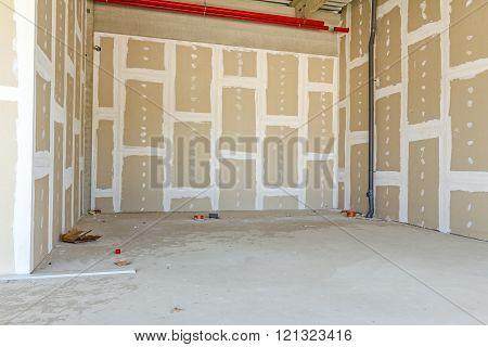 Plasterboard Walls. Gypsum Wall Under Construction.