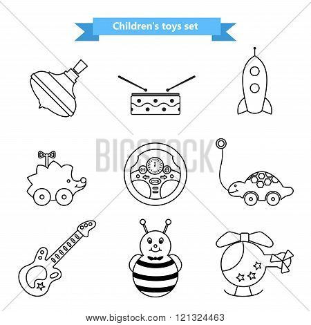 Set of vector icons of toys. Collection of toys for children. Vector illustration in a line style.