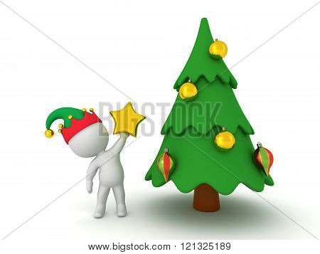 3D Character With Elf Hat Holding Star Decoration For Christmas Tree