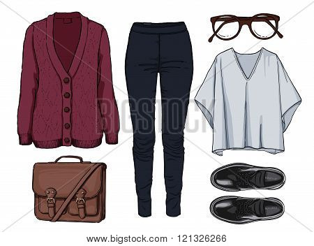 Lady fashion set of autumn, spring season outfit. Illustration stylish and trendy clothing. Cardigan