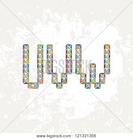Set of four colorful knitted, embroidered or macrame capital letters of the Latin alphabet. U, V and W. poster