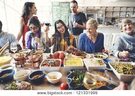 Friends Party Buffet Enjoying Food Concept