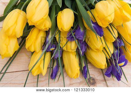 Beautiful Yellow Tulips On Wooden Background.