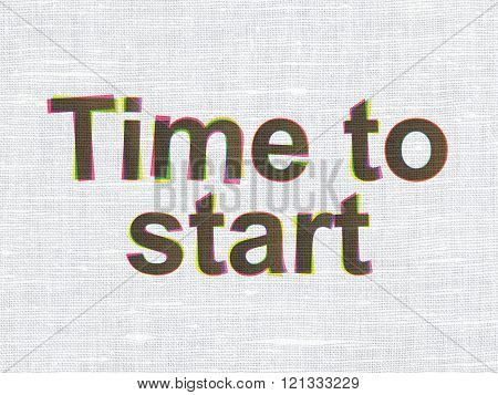 Time concept: Time to Start on fabric texture background