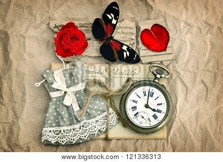 Love Postcards, Red Rose Flower, Valentine Heart