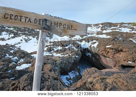 sign and Cave of Raspberries in Etna National Park, Sicily