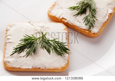 Two Crackers With Spread Cheese And Sprig Of Dill