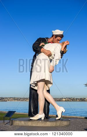 SAN DIEGO, CALIFORNIA - FEBRUARY 25, 2016: The Unconditional Surrender statue in San Diego.