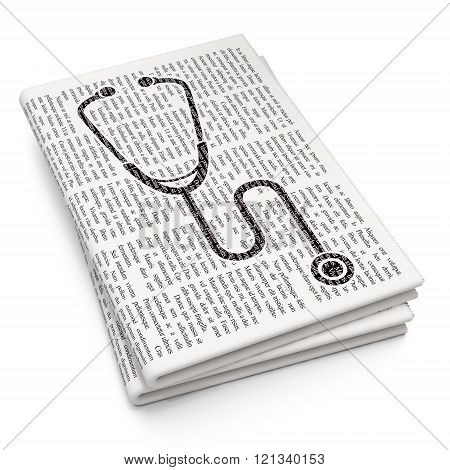 Healthcare concept: Stethoscope on Newspaper background
