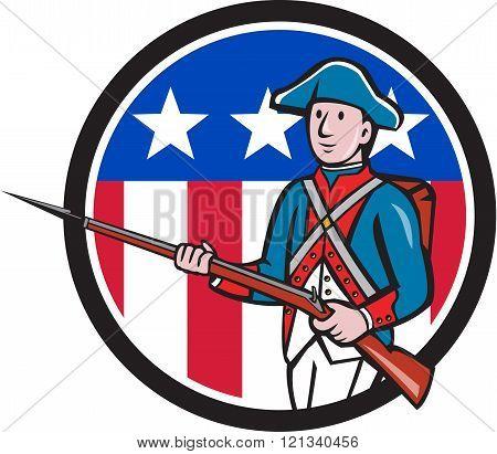 American Revolutionary Soldier Usa Flag Circle Cartoon