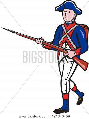 American Revolutionary Soldier Marching Cartoon