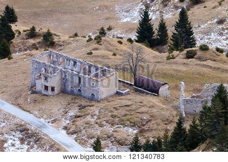 Abandoned military barracks from