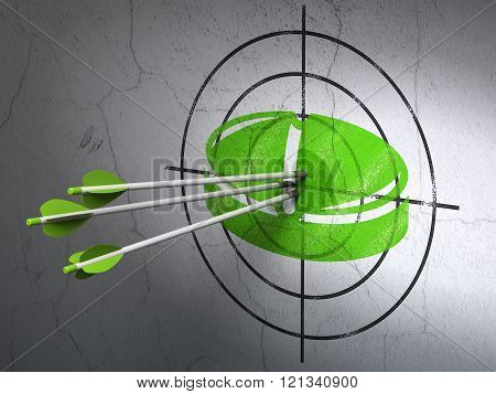 Health concept: arrows in Pill target on wall background
