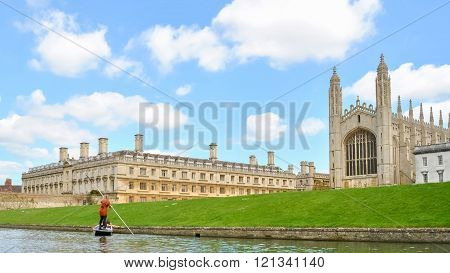 College's Buildings In Cambridge (uk) Seen From The River Cam