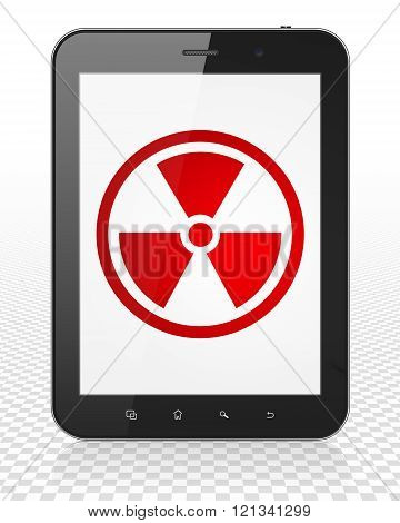 Science concept: Tablet Pc Computer with Radiation on display