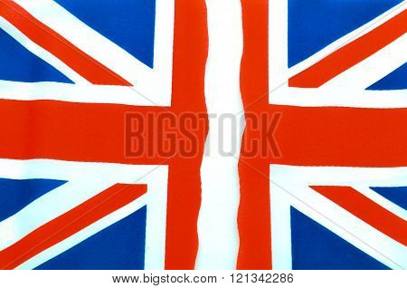 Abstract Union Jack flag torn off with white stripe