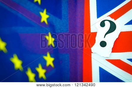 Brexit referendum concept with flag and question marks