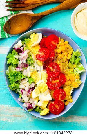 vegetarian Cobb Salad with corn . selective focus poster