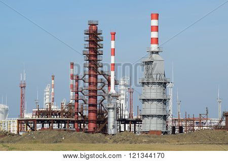 Distillation Columns, Pipes And Other Equipment Furnaces Refinery.