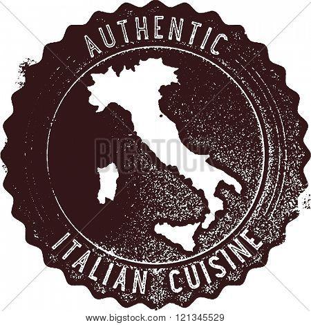 Authentic Italian Cuisine Restaurant Menu Stamp