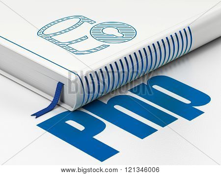 Software concept: book Database With Lock, Php on white background