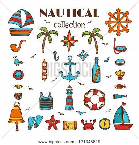 Hand drawn nautical collection. Sea and ocean. Marine icon set. Nautical elements. Vector illustration