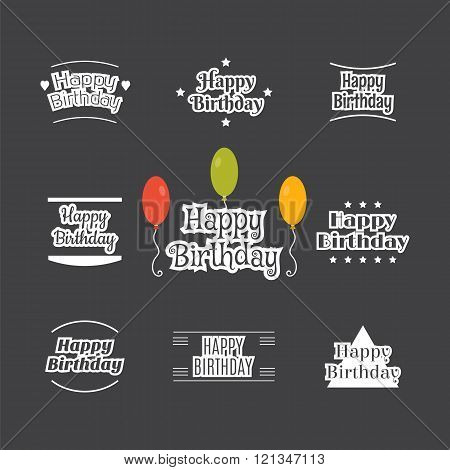 Happy Birthday Set. Label Design Collection. Birthday Cards