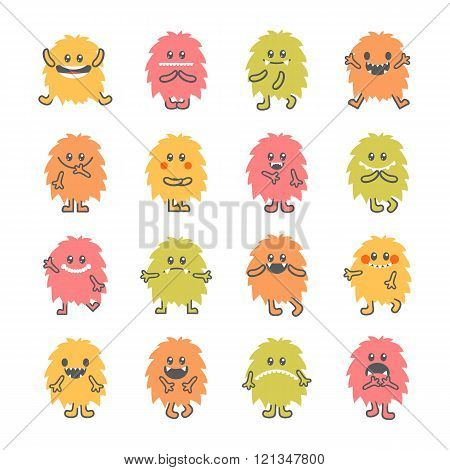 Set Of Cartoon Funny Smiley Monsters. Collection Of Hand Drawn Different Cute Fluffy Monsters Charac