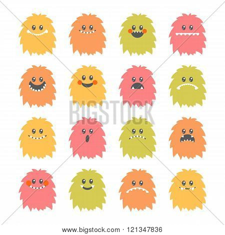 Set Of Cartoon Smiley Monsters. Collection Of Different Cute Fluffy Monsters Characters