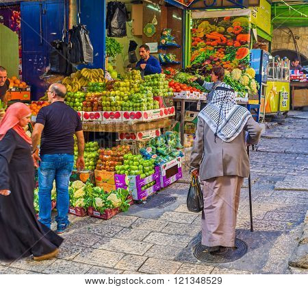 The Old Palestinian In Market