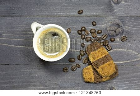 Cup Of Coffee And Coffeebeans With Double Colored