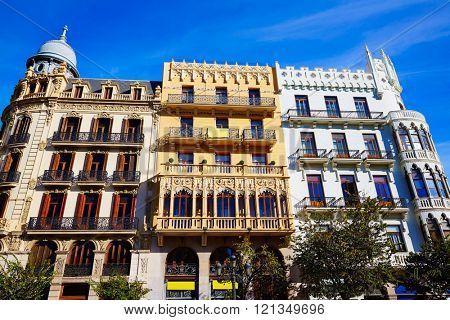 Valencia Ayuntamiento square Casa Ferrer and Noguera buildings at Spain