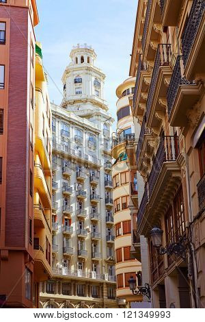 Valencia city buildings downtown in Spain