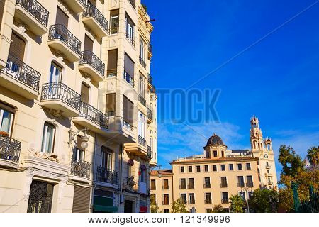 Valencia city downtown Bailen and Xativa streets in Spain